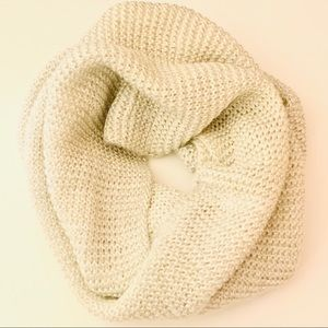 Steve Madden Cream and Silver Knit Infinity Scarf